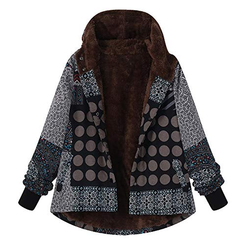 GOVOW Vintage Coat for Women Plus Size Hooded Long Sleeve Ladies Fleece Thick Coats Zipper Jaclet(US:14/CN:L,Black )(US:14/CN:L,Black )