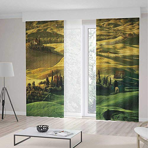 ALUONI Decor Collection,Tuscan,for Living Room,Peaceful Landscape of Pienza Tuscany Vineyard Trees Meadow Hill Ancient House2 Panel Set,70W X 98L Inches