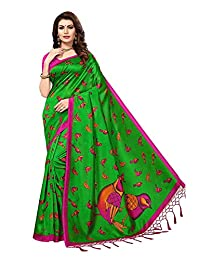 Indian Clothing Store ANNI DESIGNERWomen's Mysore Silk Birds Printed Saree with Blouse Piece(Sparrow Green_Green_Free Size)