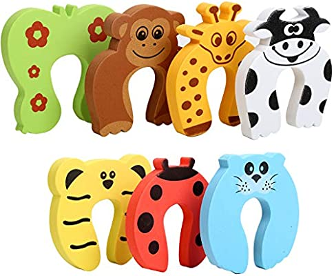 7pcs Finger Pinch Guard Hnyyzl Cartoon Animal Door Stopper Soft Foam Cushion Finger Protector Baby Safety Prevent Finger Pinch Injuries Slamming Door And Child Or Pet From Getting Locked In Room Amazon Sg