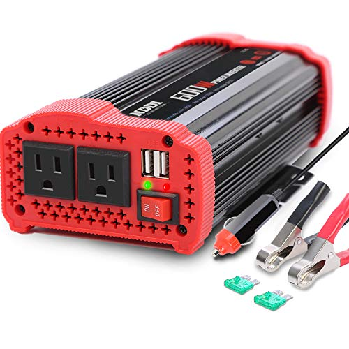 600w Power Pack - 600W Car Power Inverter 12V DC to 110V AC Converter with 3.1 A Dual USB Quick Car Charger Adapter