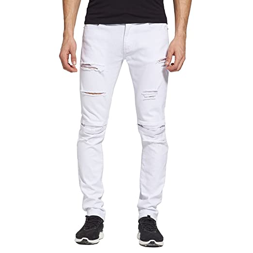 deaefa9d96 LifeShe Men Casual Slim Fit White Ripped Skinny Jeans at Amazon ...