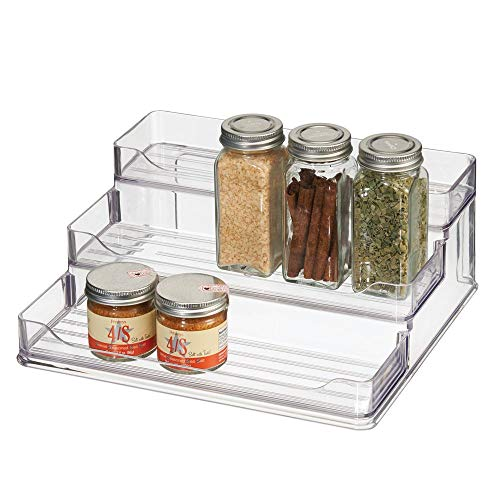 (mDesign Plastic Spice and Food Kitchen Cabinet Pantry Shelf Organizer - 3 Tier Storage - Modern Compact Caddy Rack - Holds Spices/Herb Bottles, Jars - for Shelves, Cupboards, Refrigerator - Clear)