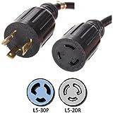 NEMA L5-30P to L5-20R Plug Adapter - 1 Foot, 20A/125V, 12/3 AWG - Iron Box # IBX-3661-