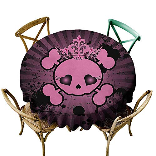 (Wendell Joshua Picnic Tablecloth 36 inch Skull,Cute Skull Illustration with Crown Dark Grunge Style Teen Spooky Halloween Print,Pink Black Suitable for Indoor Outdoor Round)