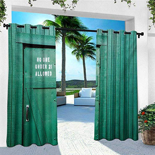leinuoyi Teal, Outdoor Curtain Kit, Monochrome Vintage Wooden Local Irish Pub Rustic Door with Warning Phrase Culture Photo, for Patio W72 x L96 Inch ()