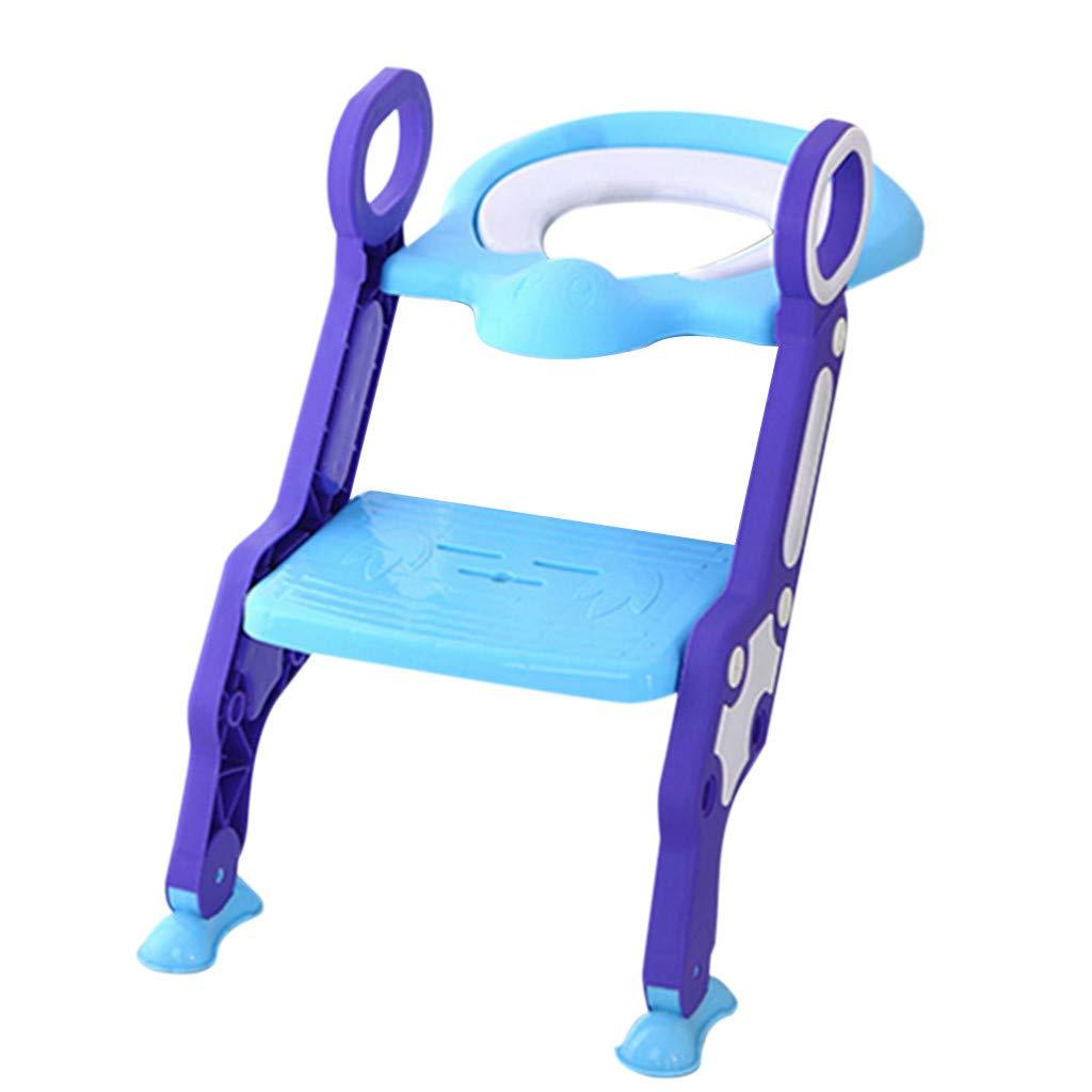 Children Portable Toilet Ring,Outdoor Travel Folding Chair Toddler Toilet Seat Adjustable Sturdy Non-Slip Step Stool Ladder (Blue)