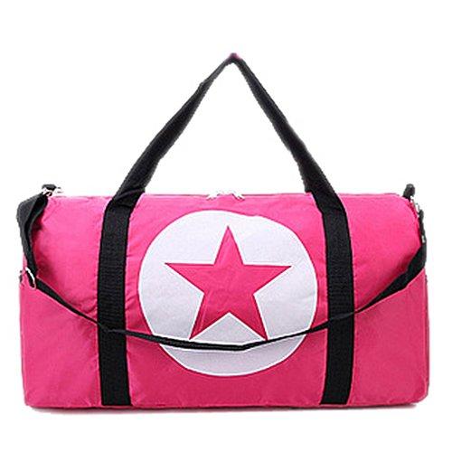 BACKSPORT Damen Herren Klassische Sporttasche Matchbag Reisetasche Henkel Tasche Club Sport Reise Wasserdicht (#B Pink, L)