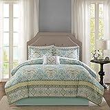 9 Piece Aqua Yellow Paisley Comforter Cal King California Set, Blue Grey Medallion Bedding Geometric Master Bedroom Bohemian Bed in A Bag Cottage Cotton Sheet Set Casual Classic, Microfiber