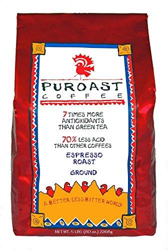 Puroast Low Acid Coffee Espresso Roast Fine Grind, 5-Poun...