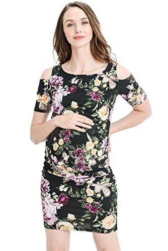 Hello MIZ Women's Cold Shoulder Knee Length Fitted Maternity Dress (M, Black/Plum)
