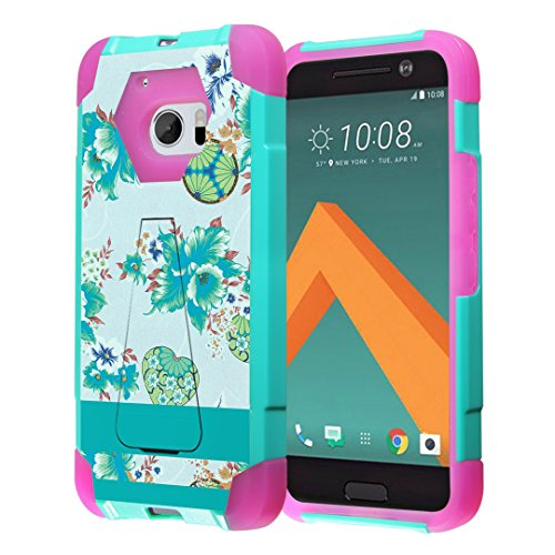 HTC 10 Case, Capsule-Case Hybrid Fusion Dual Layer Shockproof Combat Kickstand Case (Teal Mint Green & Pink) for HTC 10 (HTC One M10, 2016) - (Wallpaper Flower)