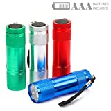 FASTPRO 4-pack Mini Aluminum LED Flashlights Set, 12-piece AAA Batteries Included and Pre-installed