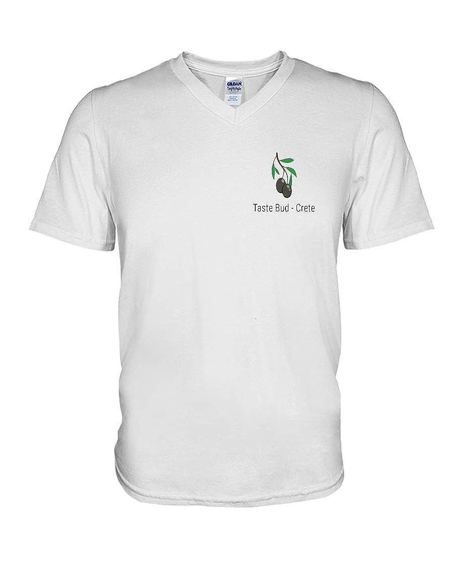 Hillary Chenss Taste Bud Crete V-Neck T-Shirt White S