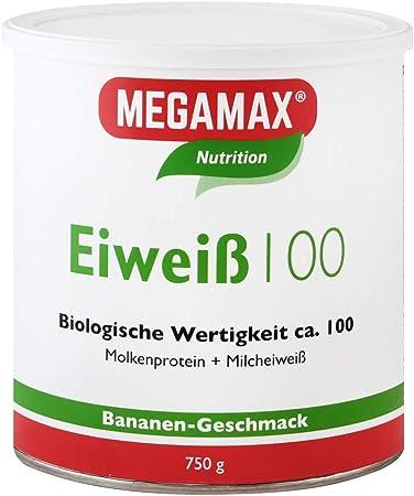 MEGAMAX - Eiweiss - Proteínas de suero de leche y proteínas lácteas - Crecimiento muscular y dieta - Valor biológico aprox. 100 - Plátano - 750 g