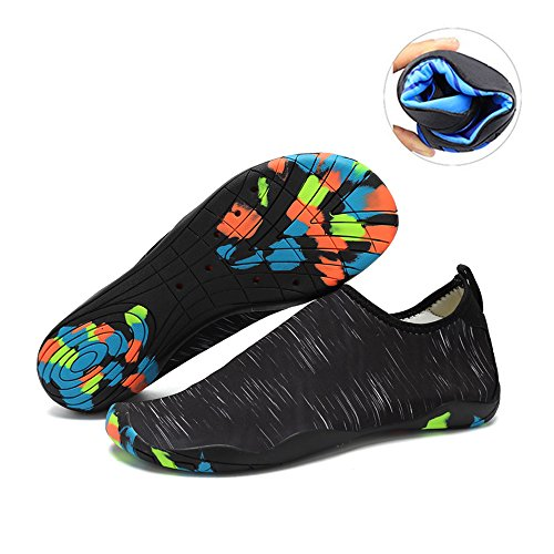 Water Shoes Mens Womens Beach Swim Shoes Quick-Dry Aqua Socks Pool Shoes for Surf Yoga Water Aerobics Db.black 6.5 B(M) US