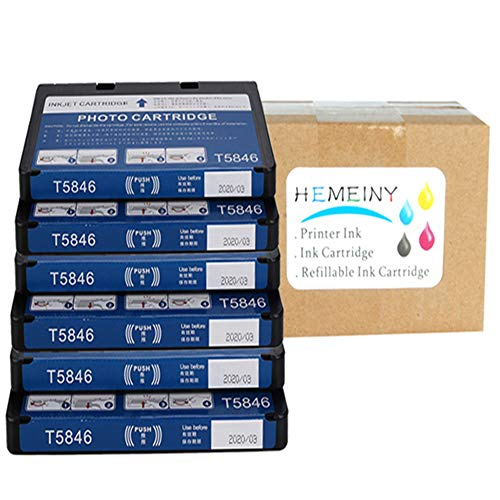 HEMEINY Remanufactured Ink Cartridge Replacement for Epson T5846 (6-Pack), Compatible for PictureMate PM225 PM200 PM300 PM240 PM260 PM280 PM290 - Compatible T5846 Ink