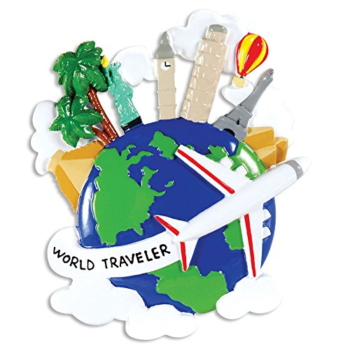 PERSONALIZED CHRISTMAS ORNAMENTS TRAVEL- WORLD TRAVELER GLOBE (Suitcase Ornament)