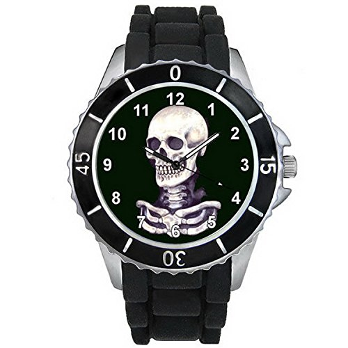 BMSC028 Halloween Skull Casual Black Jelly Silicone Strap Mens Ladies Wrist Watch