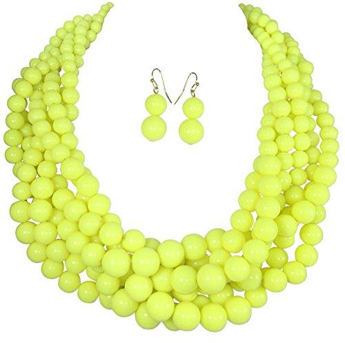 Beaded Set Yellow Jewelry (Braided Multi Strand Beaded Statement Necklace & Earrings Set (Neon Yellow))