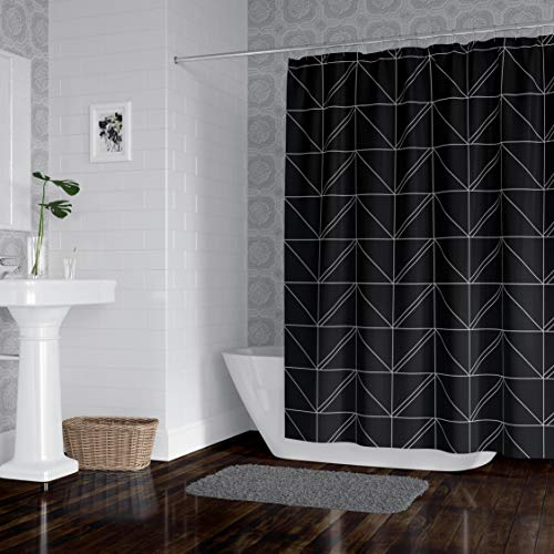 Horizon Home Essentials Modern Luxury Geometric Shower Curtain for Bathroom, 72 x 72 inch, Water and Mildew Resistant, 100% Polyester, Black and Grey