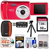 : Vivitar ViviCam VXX14 Selfie Digital Camera (Red) with 32GB Card + Case + Flex Tripod + Reader + Kit