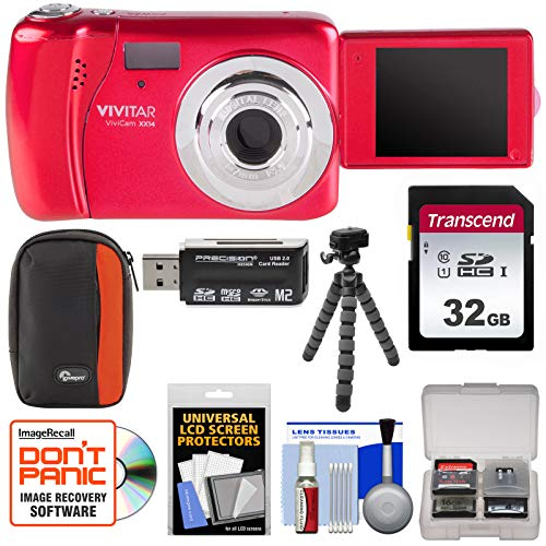 Vivitar Vivicam Blue (Vivitar ViviCam VXX14 Selfie Digital Camera (Red) with 32GB Card + Case + Flex Tripod + Reader + Kit)