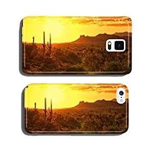 Sunset view of the Arizona desert with cacti and mountains cell phone cover case Samsung S5