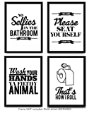 black and white bathroom decor Typography Bathroom UNFRAMED Wall Art & Pictures | Set of 4 Funny Bathroom Quotes & Rules | Best Modern Toilet Decor Words & Letters | Premium Card Stock Sayings Posters | Black & White Prints 8 x 10