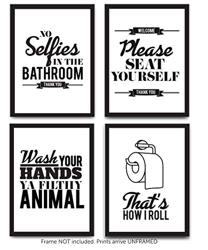 Typography Bathroom UNFRAMED Wall Art & Pictures | Set of 4 Funny Bathroom Quotes & Rules | Best Modern Toilet Decor Words & Letters | Premium Card Stock Sayings Posters | Black & White Prints 8 x 10