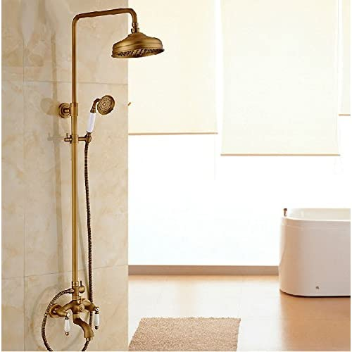 SAEKJJ-Antique bathtub shower Kit brass European-style shower faucet rotated under water Bathroom faucet outlet
