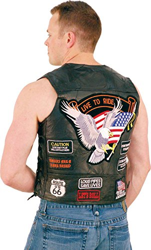 All Patched Up Leather Motorcycle Vest (L) #VM14PP ()