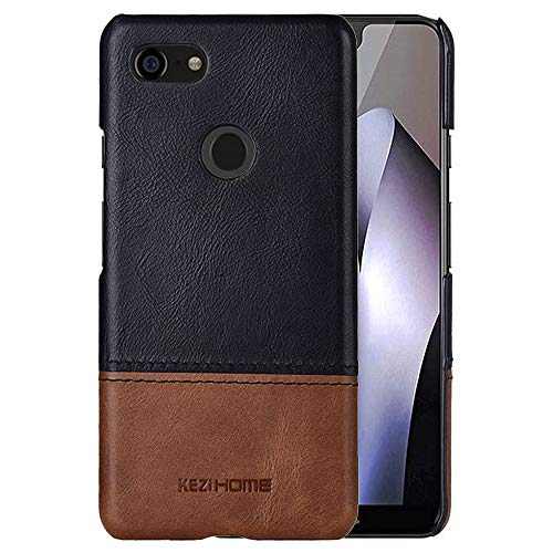Pixel 3 XL Case,Two-Tone Vintage Genuine Leather Back Cover for Google Pixel 3 XL (Black)