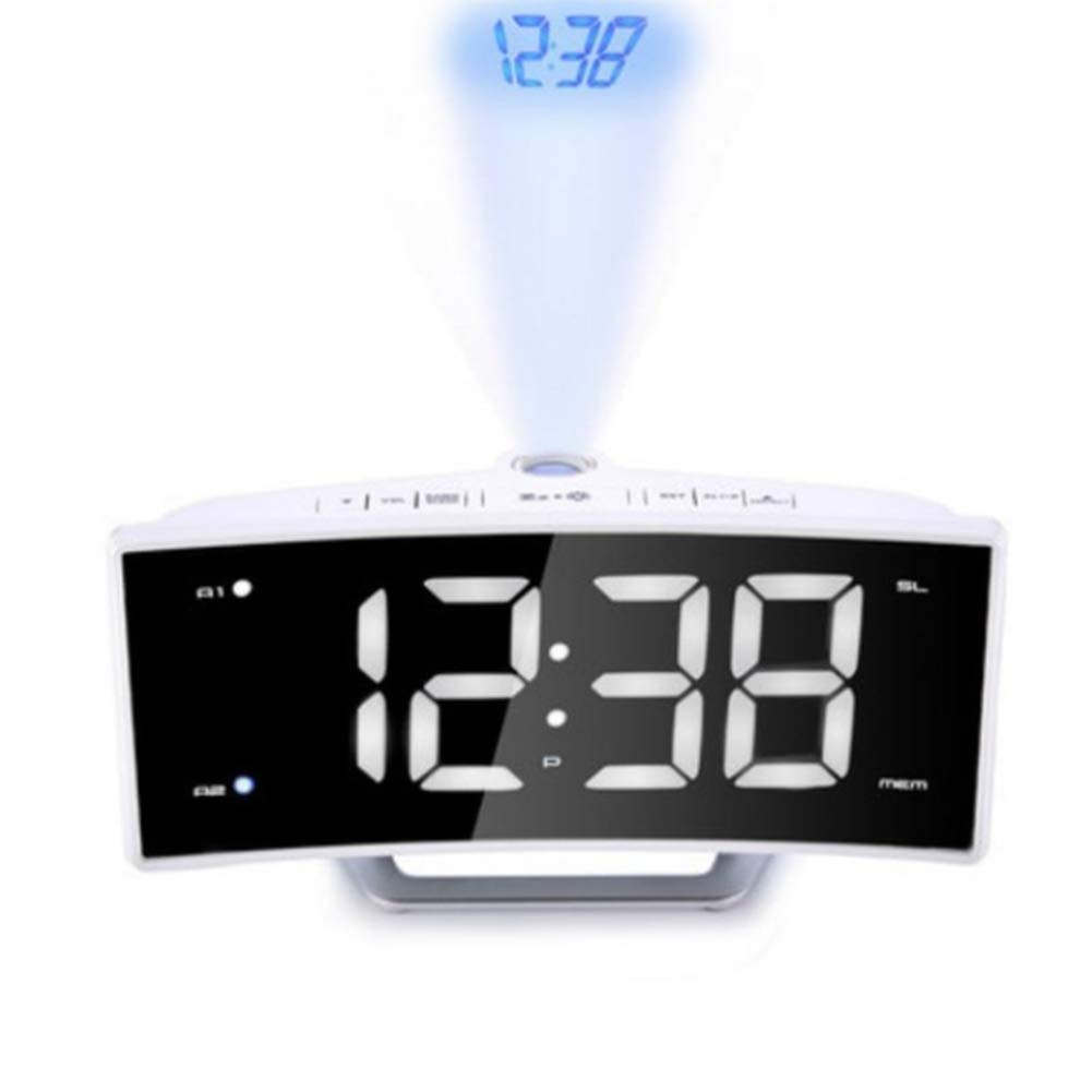 YL-light Projection Alarm Clock FM Radio Digital Desk Clock, LED Curved-Screen with Dimmer, USB Charging, Snooze, 180° Rotatable for Bedroom by YL-light