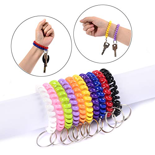 Spiral Key Chain Rings Coil Bracelet Holder Stretchy Wrist Key Chains for Office/Work/Sauna/Exercise and Outdoor Activities, Assorted Colors Suitable for Kids/Women/Men, Pack of 10pcs Photo #7