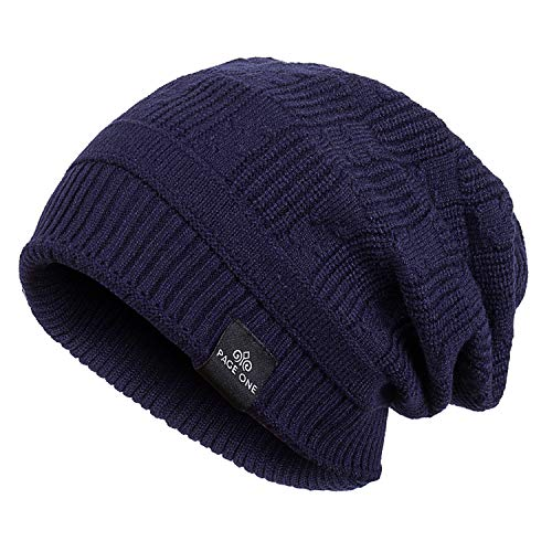 PAGE ONE Mens Winter Warm Knit Wool Hat Soft Fleece Lined Stretch Slouchy Skully Beanie Men Women(Navy)