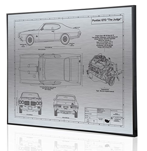 Pontiac GTO Judge 1970 Blueprint Artwork-Laser Marked & Personalized-The Perfect Pontiac ()