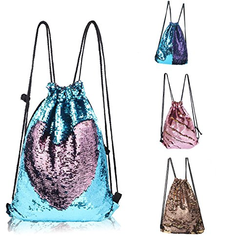 CHANNON Mermaid Drawstring Bag, Magic Reversible Sequin Backpack, Fashion Glittering Dance Bag, Fashion Bling Shining Bag
