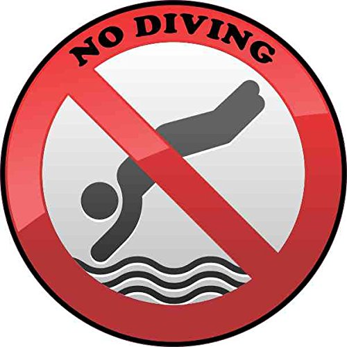 (4in x 4in No Diving Sticker Vinyl Pool Safety Sign Swimming Decal Stickers)