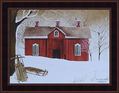 - New Fallen Snow by Billy Jacobs 15x19 Red Barn Wood Flyer Sleds Winter Country Primitive Folk Art Print Wall Décor Framed Picture