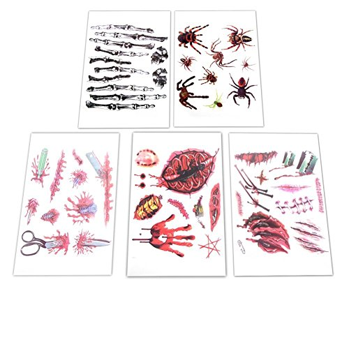 Fanme Blood Temporary Tattoo Stickers Scab Scar for Cos Play Party Halloween,10pcs 5 patterns