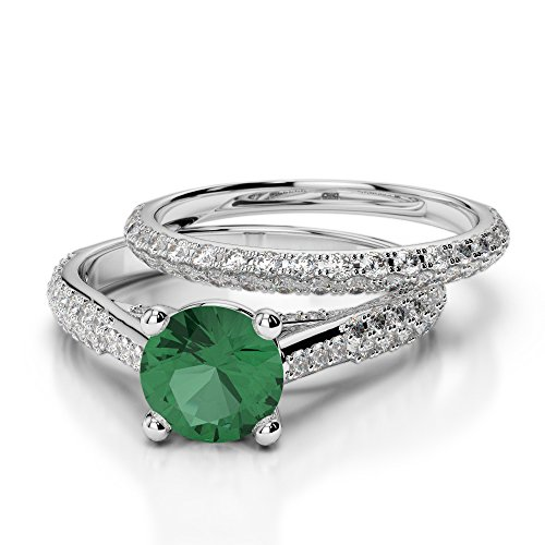 Or blanc 18carats 1CT G-H/VS sertie de diamants ronds découpé Émeraude et de mariage Bague de fiançailles et ensemble de Agdr-2013