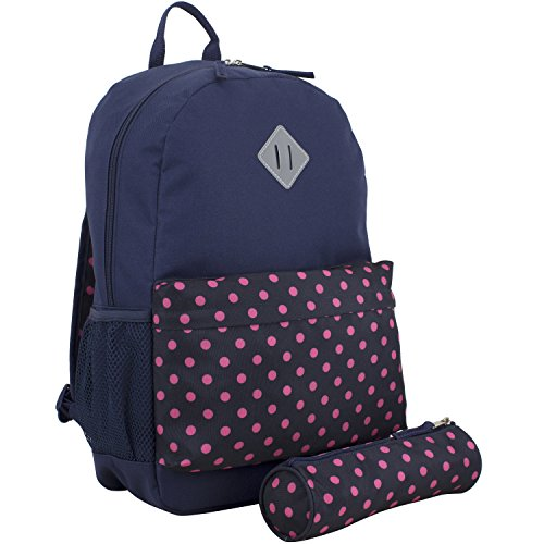 Midnight Dome (Eastsport Dome Backpack with FREE Pencil Case, Midnight Blue/Pink Polka Dots)
