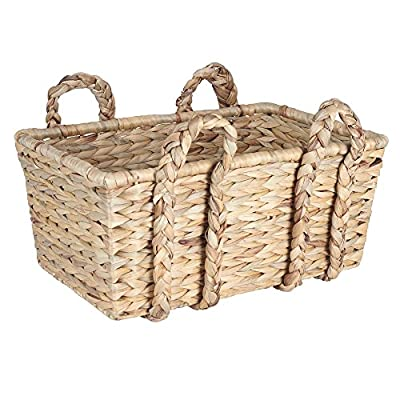 Household Essentials Large Wicker Floor Storage Basket with Braided Handle, Light Brown -  - living-room-decor, living-room, baskets-storage - 51YP2zRFfxL. SS400  -