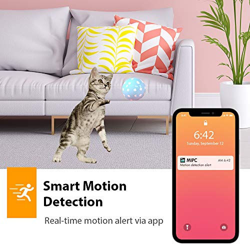 Security Camera Indoor, 1080p HD Pan/Tilt/Zoom IP Camera, WiFi Smart Home Pet Dog Camera for Baby/Nanny/Cat/Office Camera, 2-Way Audio, Night Vision, Motion Detection, Cloud/SD Alexa Support