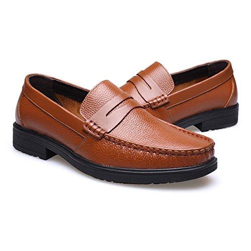 Color Hombre genuinos Tamaño de Cuero Oscuro Zapatos Jiuyue Hombre EU Vaca Genuino Piel Plana on Oxford Suela de Marrón Slip Zapatos Suave shoes de 39 Forrada Marron CItwq5rqR