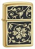 Zippo Floral Brushed Brass Pocket Lighter
