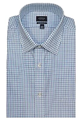 Arrow Men's Classic Fit Wrinkle Free Plaid Dress Shirt, Blue Ocean