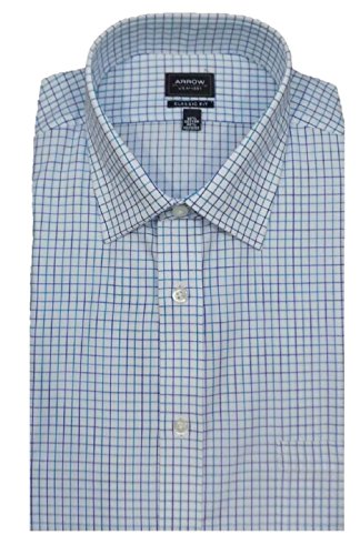 Arrow Men's Classic Fit Wrinkle Free Plaid Dress Shirt, Blue Ocean
