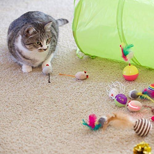 Youngever 24 Juguetes para Gatos Surtidos, túnel de 2 vías, Pluma de Gato, Juguete Interactivo de Plumas, Mouse, Bolas Arrugadas para Gato, Cachorro, Gatito, Gatito 7